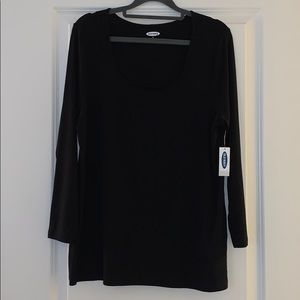 Black Old Navy Square Neck 3/4 Sleeve Tee